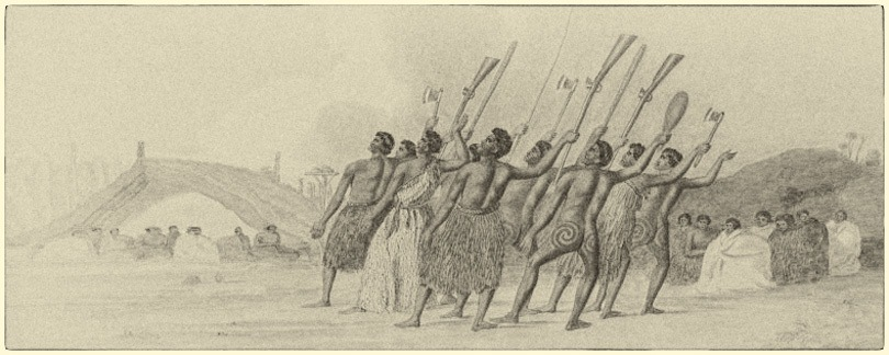 drawing of maori warriors