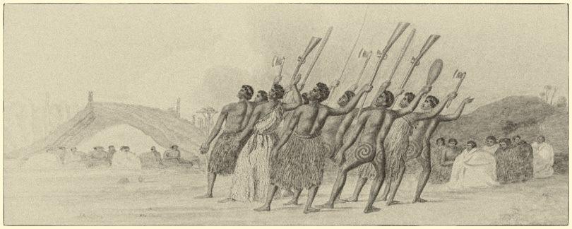 drawing of maori warriors